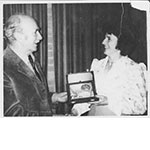 1975 Geoff Trapnell presenting Mary Bryan with Honorary Life Membership of Badminton Union