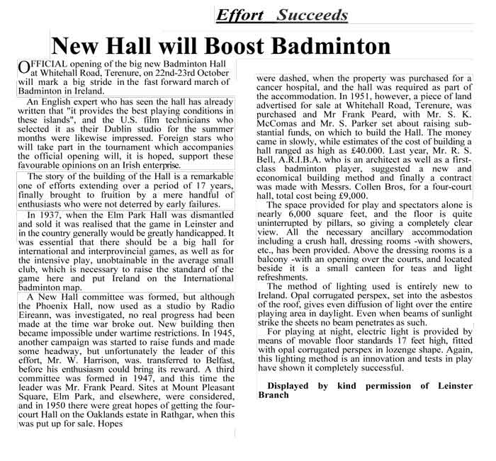 New Hall will Boost Badminton